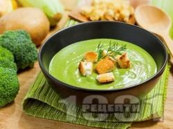 Крем супа от грах и броколи - снимка на рецептата